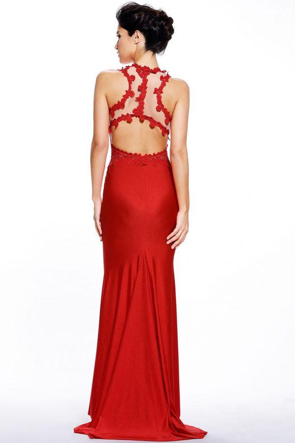 Elegant Long Mermaid Red Lace Dress