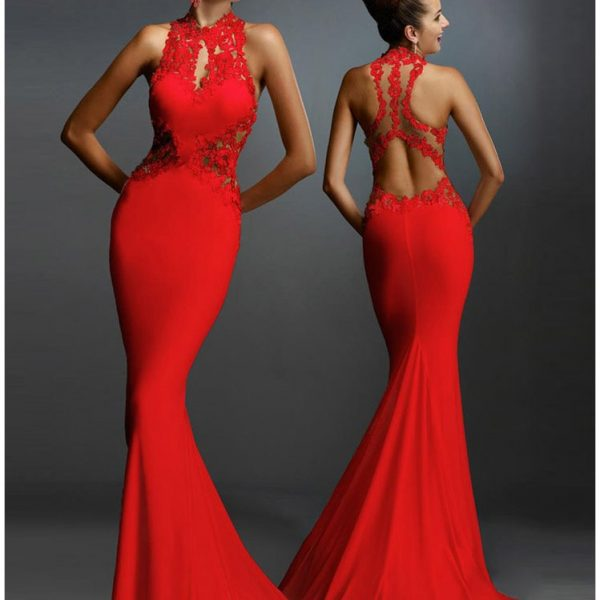 Elegant Long Mermaid Red Lace Dress Online Store For