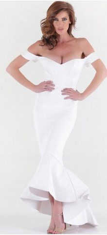 Elegant Off Shoulder White Long Cheap Homecoming Dresses