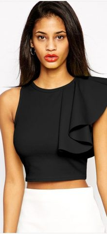 Girl Black Midriff Off The Shoulder Crop Top