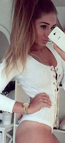 High Quality White Fashion Women Long Sleeve Bodysuit