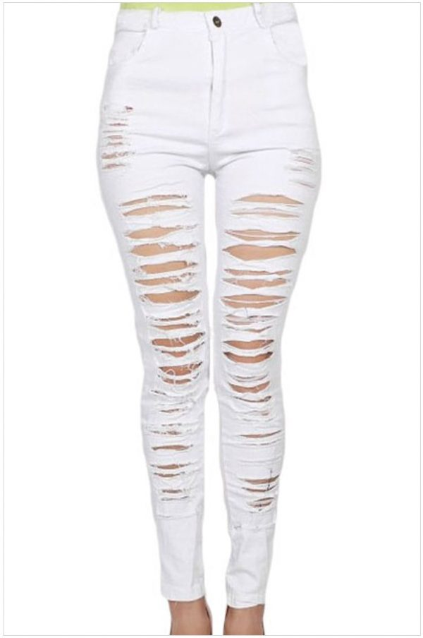High Quality Women High-waist White Ripped Skinny Jeans