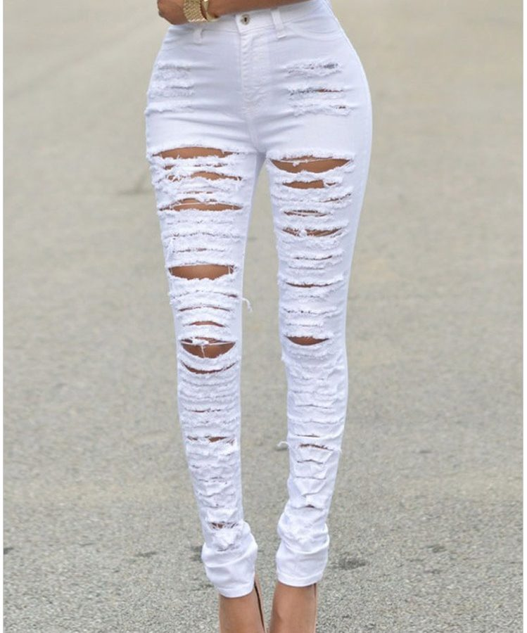 High Quality Women High-waist White Ripped Skinny Jeans - Online ...