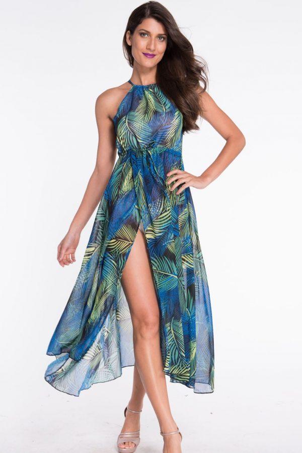 Navy-blue Ladies Long Cute Casual Summer Dresses