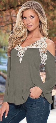Off The Shoulder Gray Women Going Out Tops