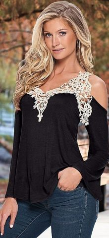 Off The Shoulder Lace Black ladies going out tops