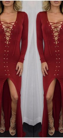 Red V Neck Sexy Club Long Sleeve Cocktail Dresses