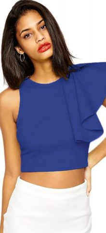 Royal Blue Girl Midriff Cute Crop Tops