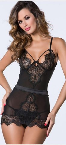 Sexy Black Sleeveless Lace womens nightshirts