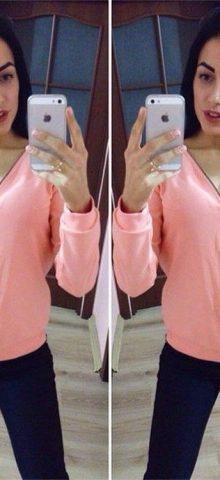 Sexy V Neck Women Pink Half Zip Longpullover Damen