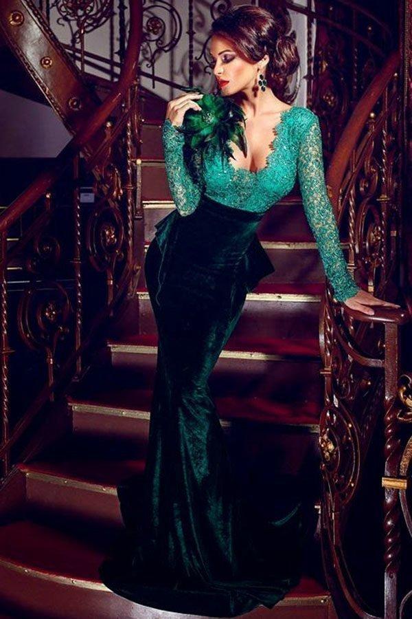 Women Long Gown Green Mermaid Prom Dress