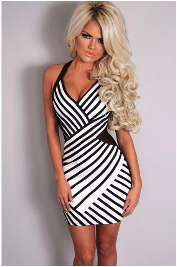 White and Black Affordable Sexy Halter Secy Dresses