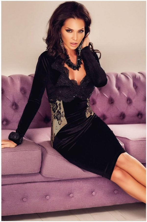 Women Bodycon Black Long Sleeve Midi Dress