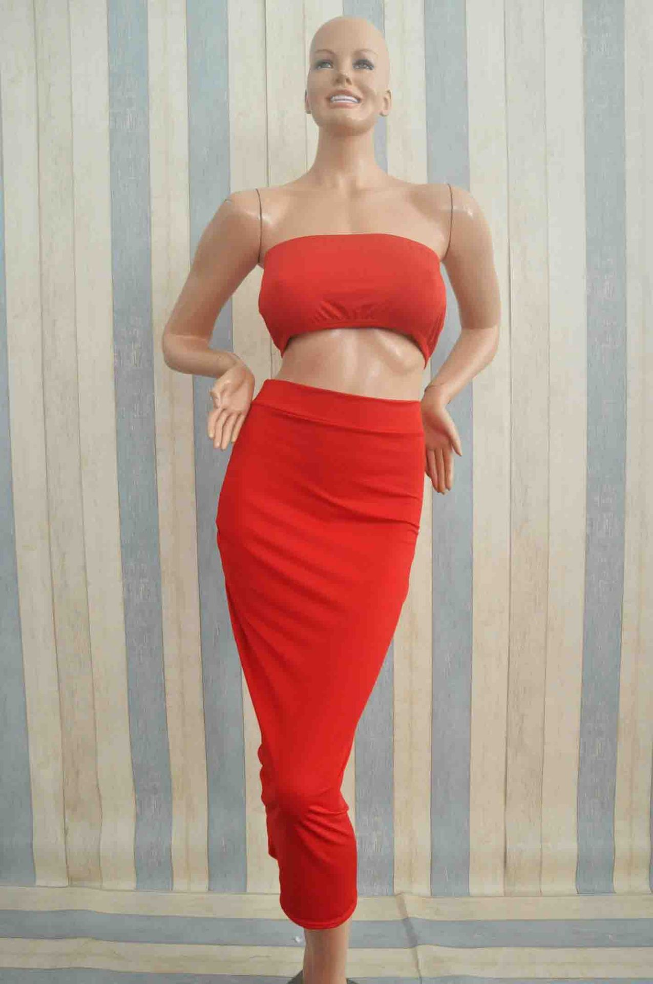 Women Cute Red Crop Top And Skirt Set - Online Store For Women Sexy Dresses-1593