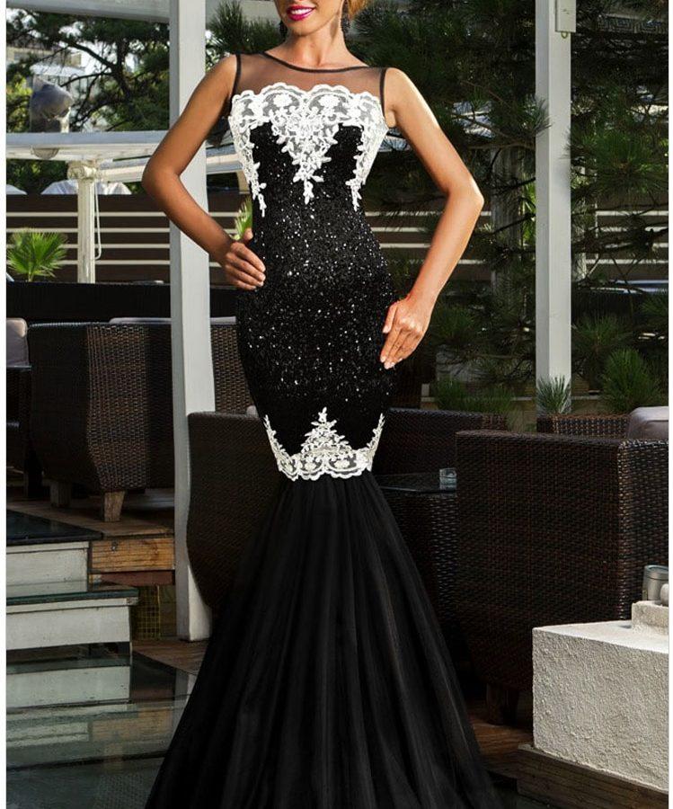 Black Mermaid Wedding Dresses: Women Long Black Amazing Mermaid Wedding Dresses