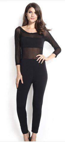 Women Mesh Off The Shoulder Black Long Sleeve Jumpsuit