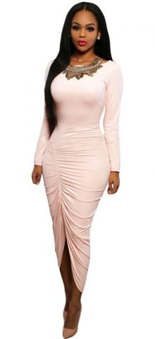 Women Pink Elegant Peplum Long Sleeve Maxi Dress