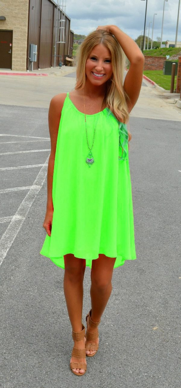 Women Sleeveless Casual Short Light Green Chiffon Dress