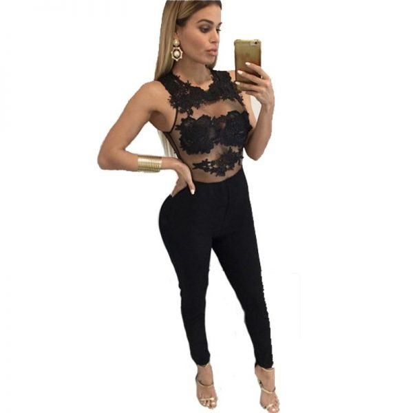 52c798ddfadc Women Sleeveless Mess Fitted Black Lace Jumpsuit - Online Store for ...