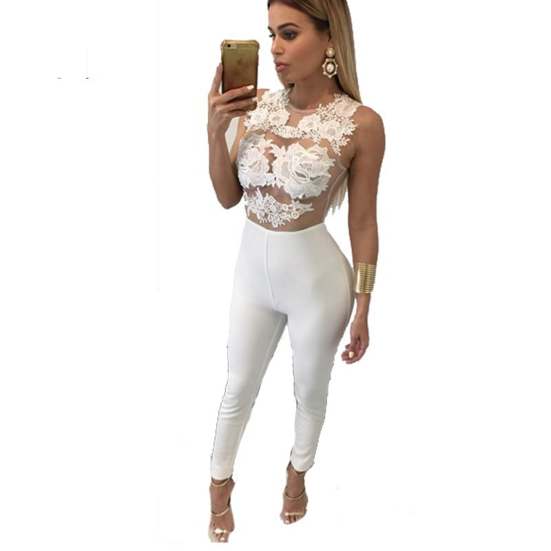 Women Sleeveless Mess Fitted White Lace Jumpsuit - Online Store ...