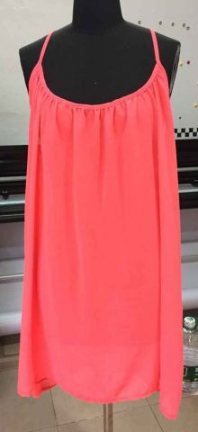 Women Strap Sleeveless Short Light Pink Chiffon Dress