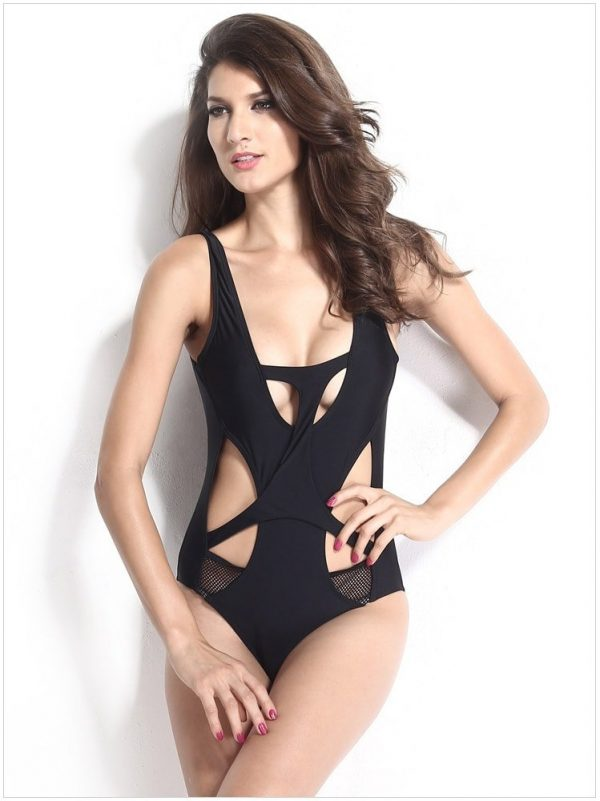 Women and Ladies Fashion Black One Piece Swimwear