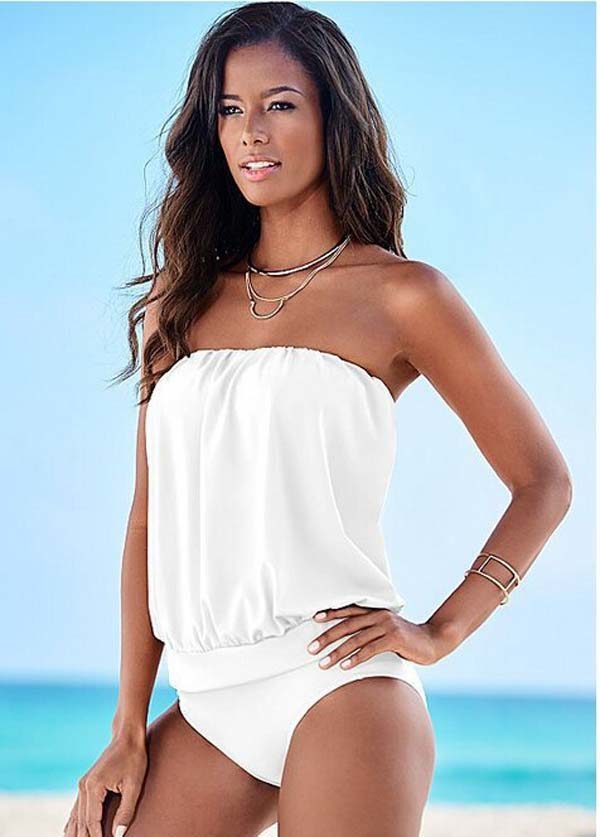 ONE Piece Hot Strapless Girl White Gottex Tankini