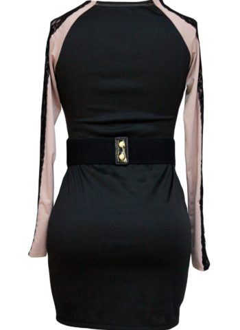 Belted Lace Trimmed Long Sleeve Tight Black Dress