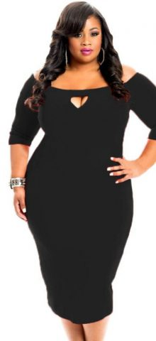 /4 Length Sleeve Black Bodycon Sexy Plus Size Dresses