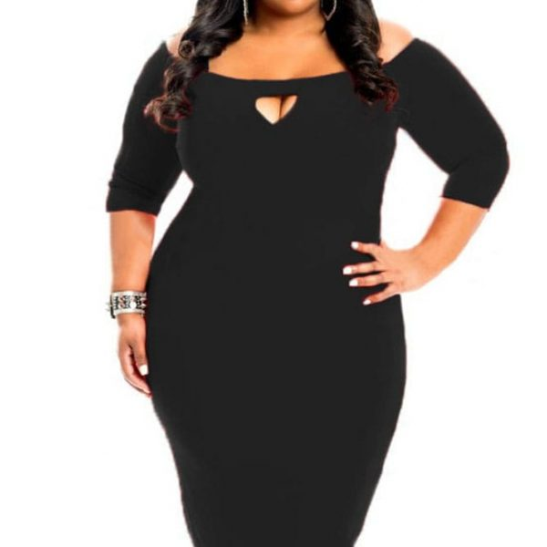 3/4 Length Sleeve Black Bodycon Sexy Plus Size Dresses - Online ...