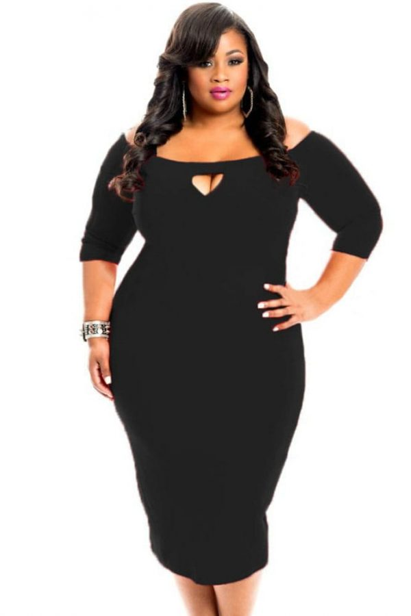 34 Length Sleeve Black Bodycon Sexy Plus Size Dresses Online