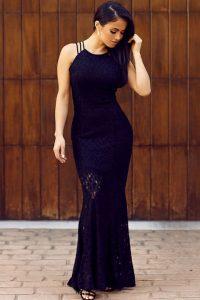 Black Lace Floor Length long cocktail dresses