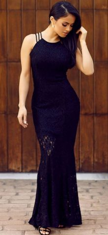 Black Lace Floor Length long cocktail dresses