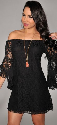 Black Lace Off-The-Shoulder Cheap Nightclub Dresses