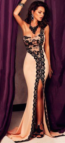 Black Lace One-shoulder Pink Floor Length Dresses