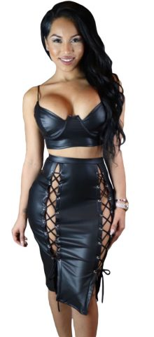 Black Leather Lux 2 Pieces Crop Top And Skirt Set