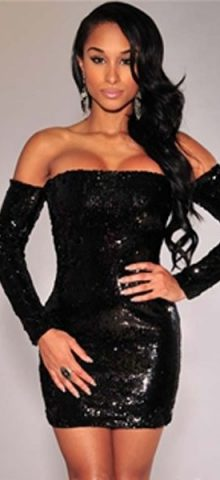 Black Sequins Off-the-shoulder Women Strapless Pencil Dress