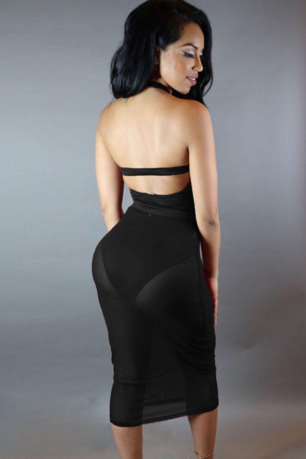 Black Sleeveless Short Bodycon Cutout Dress