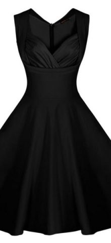 Black Sweetheart Neckline Retro Collared Girls Skater Dress