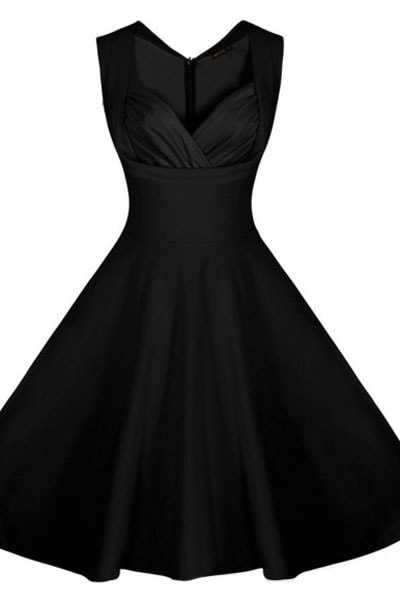 Black Sweetheart Neckline Retro Collared Girls Skater Dress