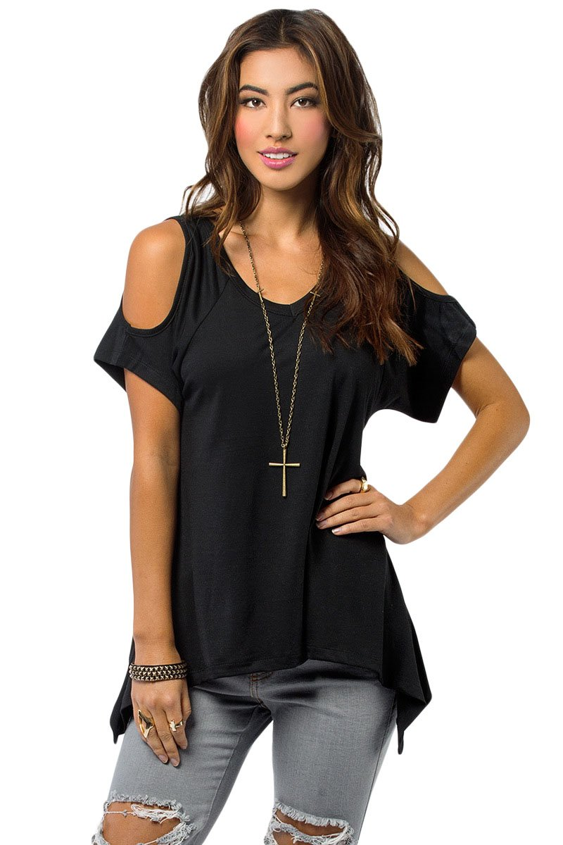 ab414c4423eda Black V Neck Cold Shoulder Tops For Juniors - Online Store for Women ...