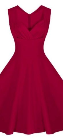 Burgandy Retro Collared Skater Dresses For Juniors