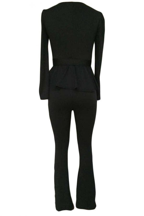 Business Elegant Women Black Dressy Pant Suits