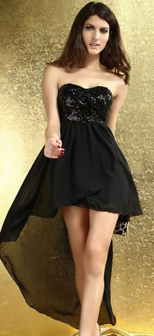 Charming Gril Short Silver Pleated Black Sequin Skirt