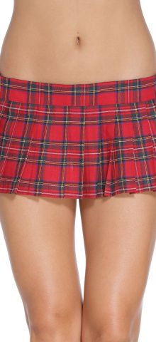 Cheap Girl Short Red Plaid Pleated Skirts
