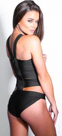 Cheap Women Black Cut Out Bandage Swimsuit