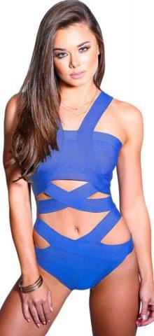 Cheap Women Blue Cut Out Bandage Swimsuit