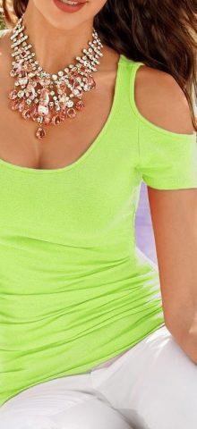 Cheap Women Cute Green Cut Off Shoulder T Shirt