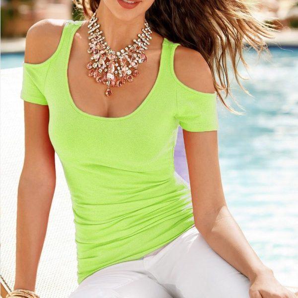 be2a67a45600 Cheap Women Cute Green Cut Off Shoulder T Shirt - Online Store for ...