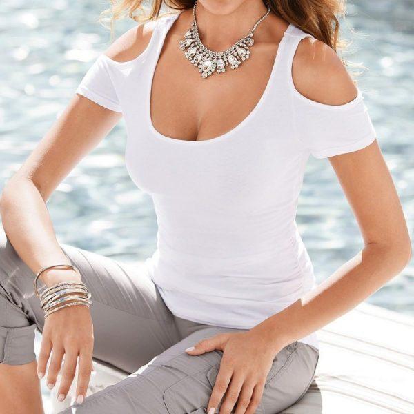 Cheap Women Cute White Off The Shoulder Blouse